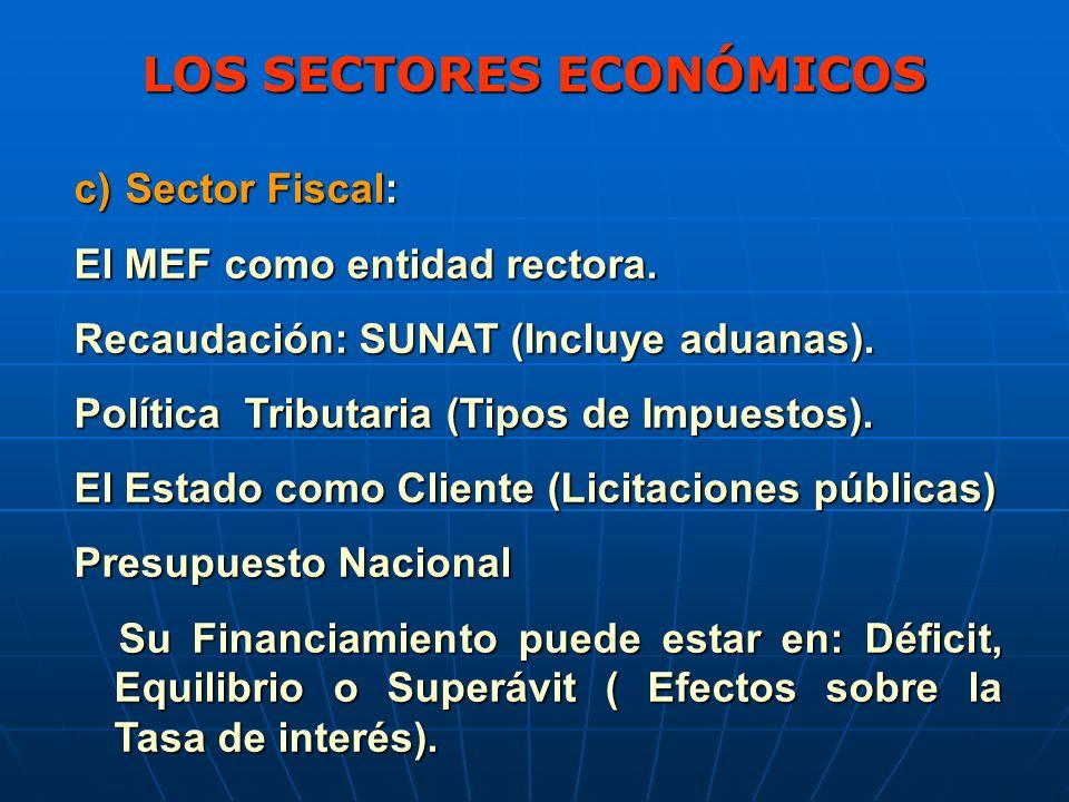 LOS SECTORES ECONÓMICOS c) Sector Fiscal: El MEF como entidad rectora.