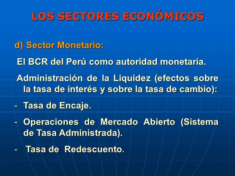 LOS SECTORES ECONÓMICOS d) Sector Monetario: El BCR del Perú como autoridad monetaria.