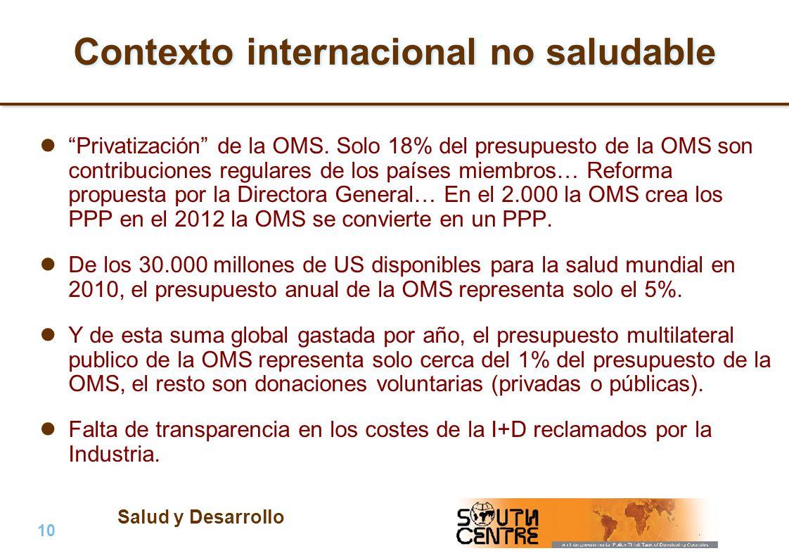 Salud y Desarrollo 10 | PubPub Contexto internacional no saludable Privatización de la OMS. Solo 18% del presupuesto de la OMS son contribuciones regu