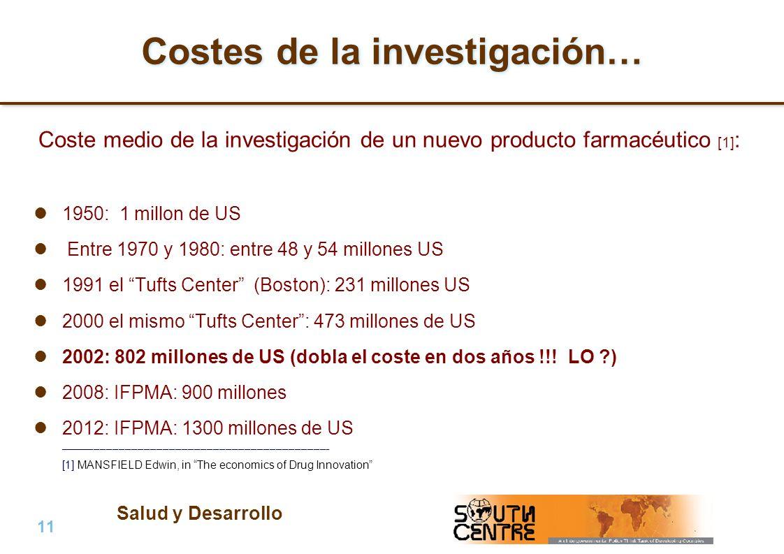 Salud y Desarrollo 11 | PubPub Costes de la investigación… Coste medio de la investigación de un nuevo producto farmacéutico [1] : 1950: 1 millon de U