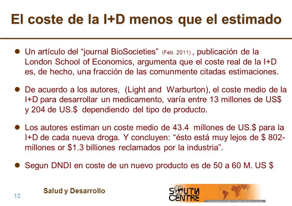 Salud y Desarrollo 12 | PubPub El coste de la I+D menos que el estimado Un artículo del journal BioSocieties (Feb. 2011), publicación de la London Sch