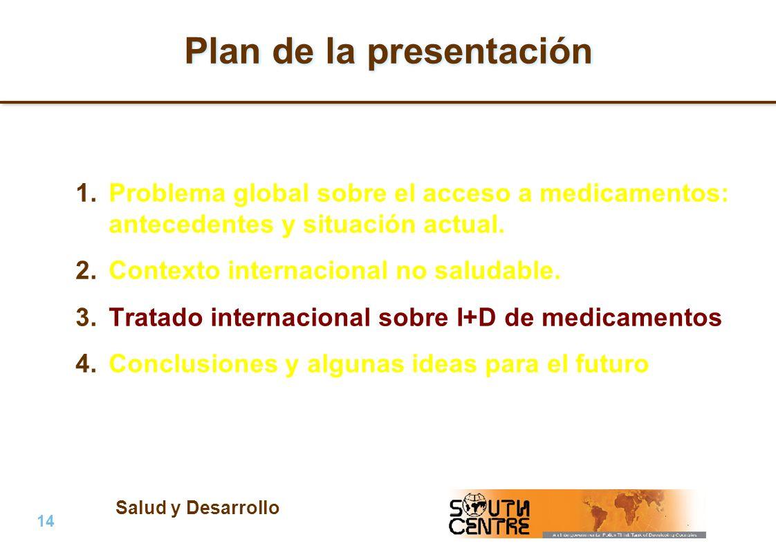 Salud y Desarrollo 14 | PubPub Plan de la presentación 1.Problema global sobre el acceso a medicamentos: antecedentes y situación actual. 2.Contexto i