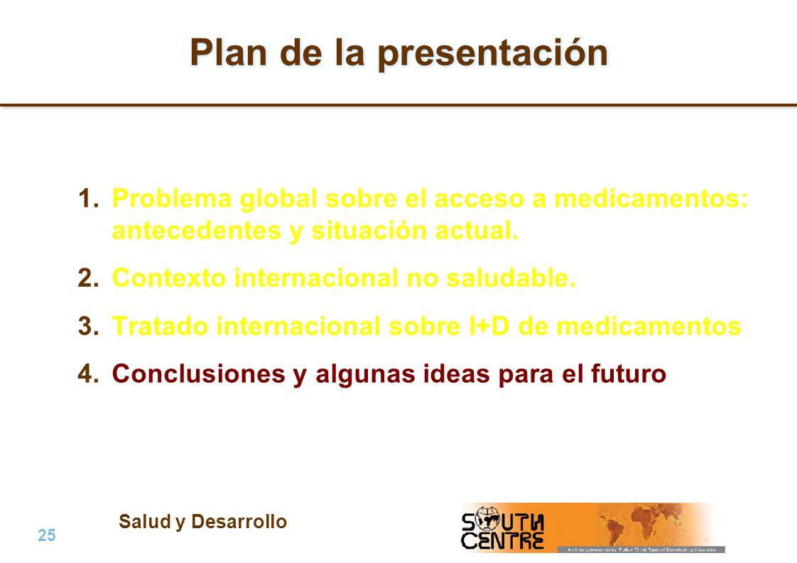 Salud y Desarrollo 25 | PubPub Plan de la presentación 1.Problema global sobre el acceso a medicamentos: antecedentes y situación actual. 2.Contexto i