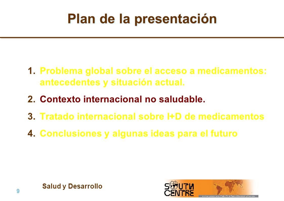 Salud y Desarrollo 9 |9 | PubPub Plan de la presentación 1.Problema global sobre el acceso a medicamentos: antecedentes y situación actual. 2.Contexto