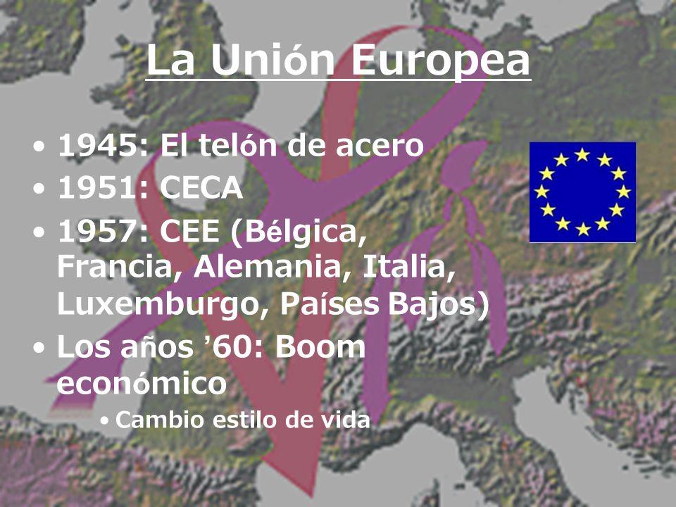 1973: CEE (Dinamarca, Gran Bretaña, Irlanda) 1981: CEE (Grecia) 1986: CEE (España, Portugal) 1995: CEE (Austria, Finlandia, Suiza) 1965: Consejo, Comisión Europea 1979: Elección de sufragio directo al Parlamento 1984: Securidad interna, política externa, defensa; Unión Europea