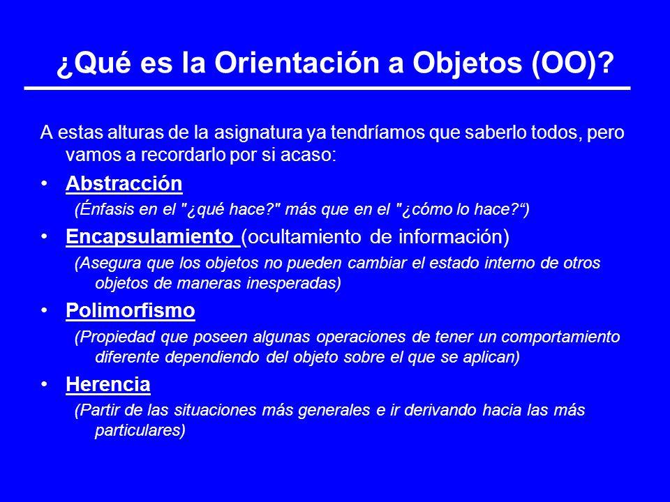 ¿Qué es la Orientación a Objetos (OO)? A estas alturas de la asignatura ya tendríamos que saberlo todos, pero vamos a recordarlo por si acaso: Abstrac