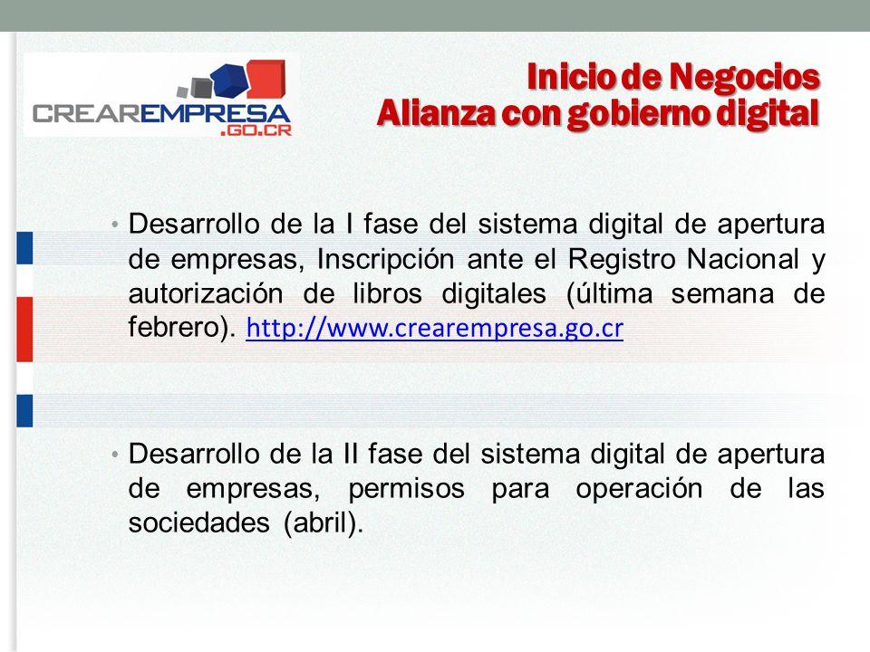 Inicio de Negocios Alianza con gobierno digital Desarrollo de la I fase del sistema digital de apertura de empresas, Inscripción ante el Registro Nacional y autorización de libros digitales (última semana de febrero).