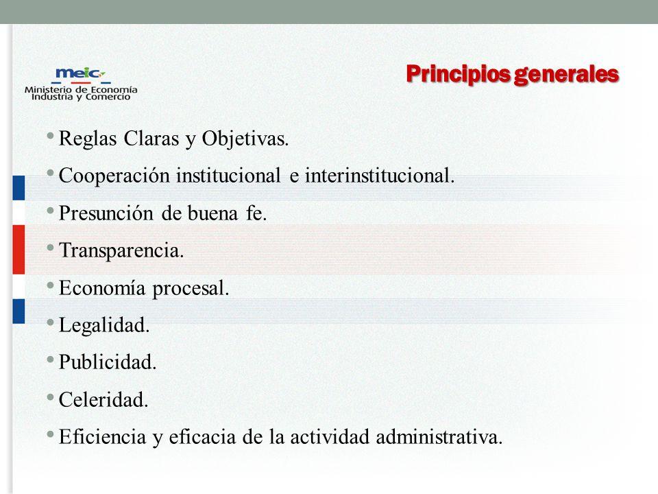 Principios generales Reglas Claras y Objetivas.Cooperación institucional e interinstitucional.
