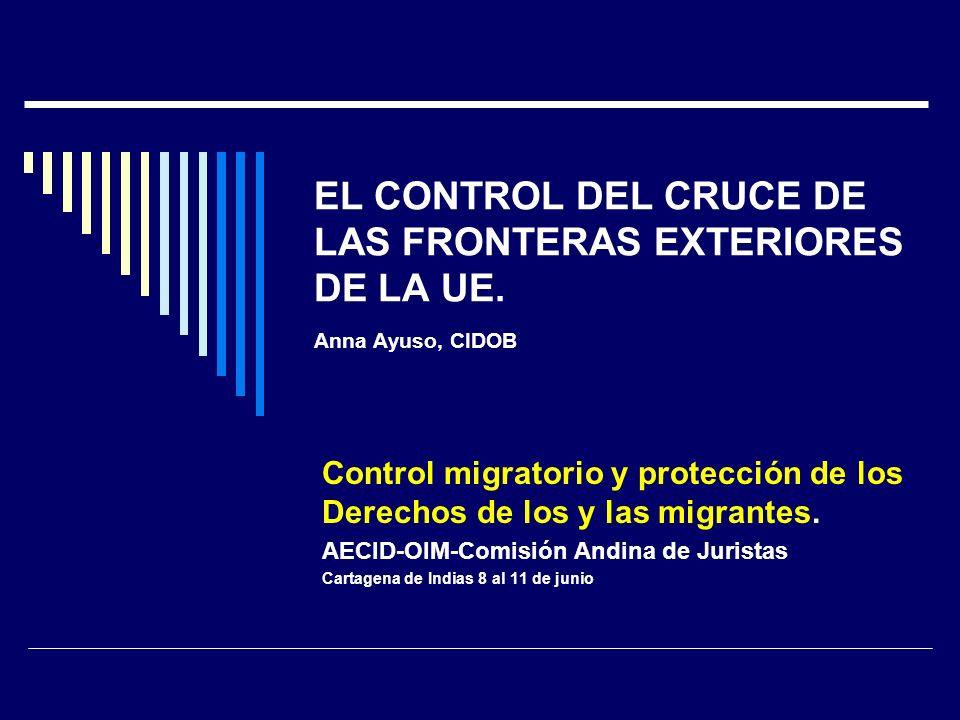 ESPACIO SCHENGEN Acuerdo de Schengen (1985) (Bélgica, Alemania, Francia, Luxemburgo Países Bajos) Convención de Schengen (1990) (Convenio de Aplicación en vigor desde 1995 ) Consejo de Tempere (1993) (Espacio de Libertad, Seguridad y Justicia) Tratado de Amsterdan 1999 Programa de La Haya 2005-2009 (2004) Tratado de Lisboa 2009 (Acervo de Schengen + cooperación reforzada.