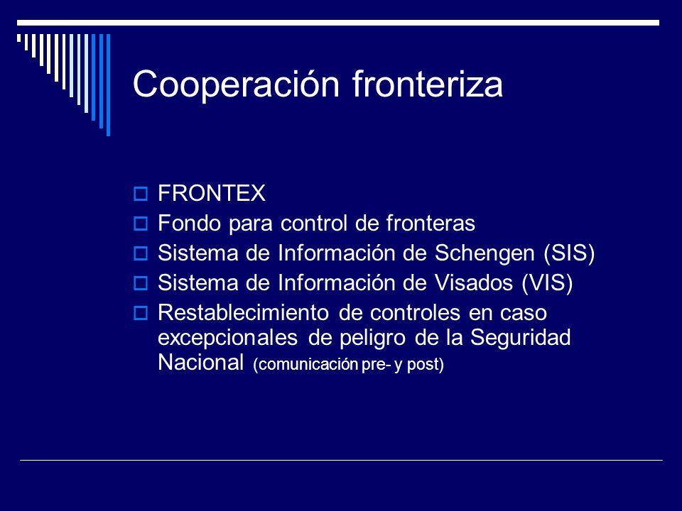 Cooperación fronteriza FRONTEX Fondo para control de fronteras Sistema de Información de Schengen (SIS) Sistema de Información de Visados (VIS) Restablecimiento de controles en caso excepcionales de peligro de la Seguridad Nacional (comunicación pre- y post)