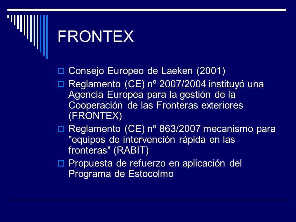 FRONTEX Consejo Europeo de Laeken (2001) Reglamento (CE) nº 2007/2004 instituyó una Agencia Europea para la gestión de la Cooperación de las Fronteras exteriores (FRONTEX) Reglamento (CE) nº 863/2007 mecanismo para equipos de intervención rápida en las fronteras (RABIT) Propuesta de refuerzo en aplicación del Programa de Estocolmo