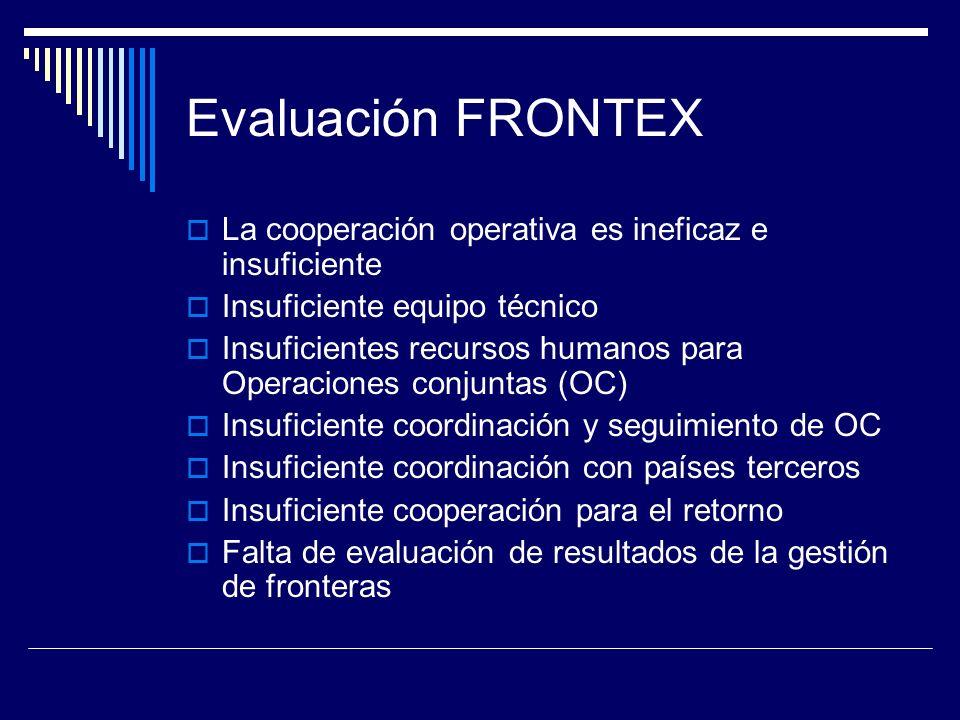 Evaluación FRONTEX La cooperación operativa es ineficaz e insuficiente Insuficiente equipo técnico Insuficientes recursos humanos para Operaciones conjuntas (OC) Insuficiente coordinación y seguimiento de OC Insuficiente coordinación con países terceros Insuficiente cooperación para el retorno Falta de evaluación de resultados de la gestión de fronteras