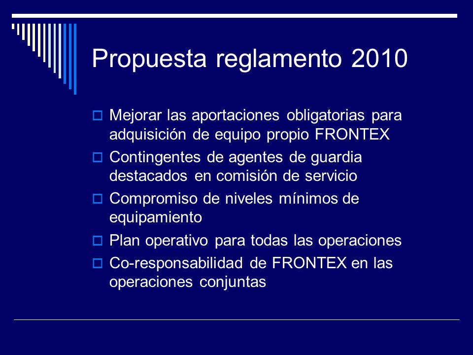 Propuesta reglamento 2010 Mejorar las aportaciones obligatorias para adquisición de equipo propio FRONTEX Contingentes de agentes de guardia destacados en comisión de servicio Compromiso de niveles mínimos de equipamiento Plan operativo para todas las operaciones Co-responsabilidad de FRONTEX en las operaciones conjuntas