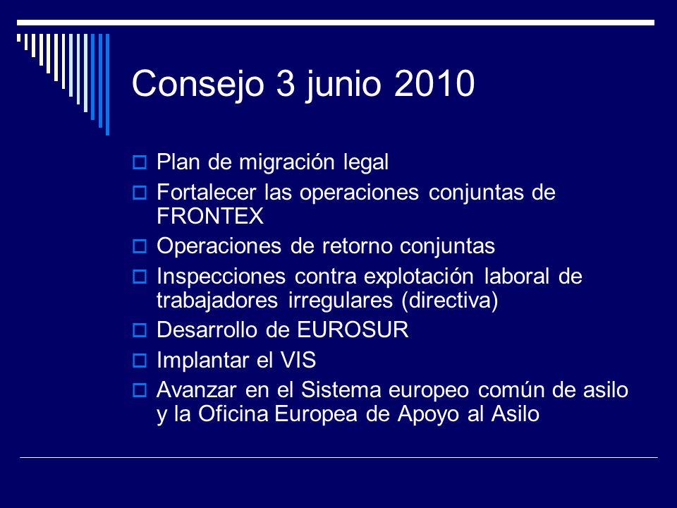 Consejo 3 junio 2010 Plan de migración legal Fortalecer las operaciones conjuntas de FRONTEX Operaciones de retorno conjuntas Inspecciones contra explotación laboral de trabajadores irregulares (directiva) Desarrollo de EUROSUR Implantar el VIS Avanzar en el Sistema europeo común de asilo y la Oficina Europea de Apoyo al Asilo