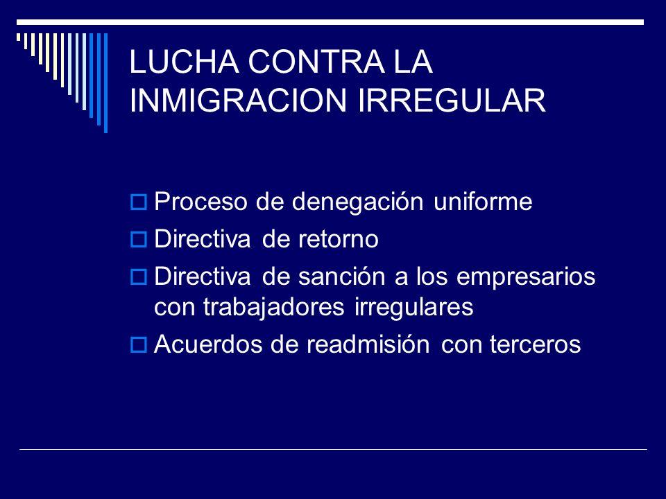 LUCHA CONTRA LA INMIGRACION IRREGULAR Proceso de denegación uniforme Directiva de retorno Directiva de sanción a los empresarios con trabajadores irregulares Acuerdos de readmisión con terceros