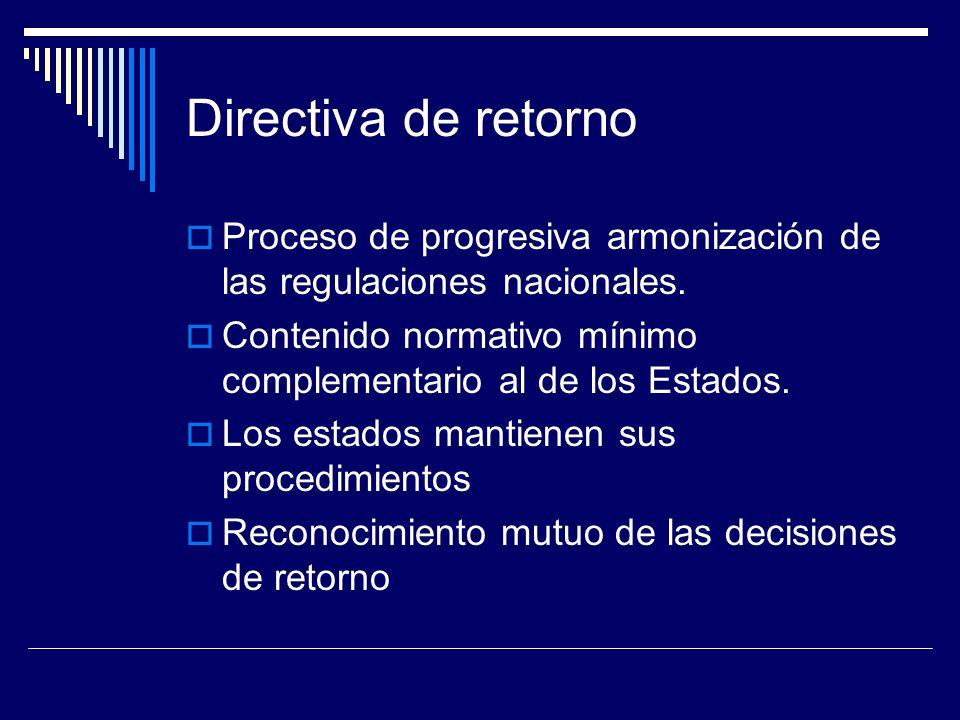 Directiva de retorno Proceso de progresiva armonización de las regulaciones nacionales.