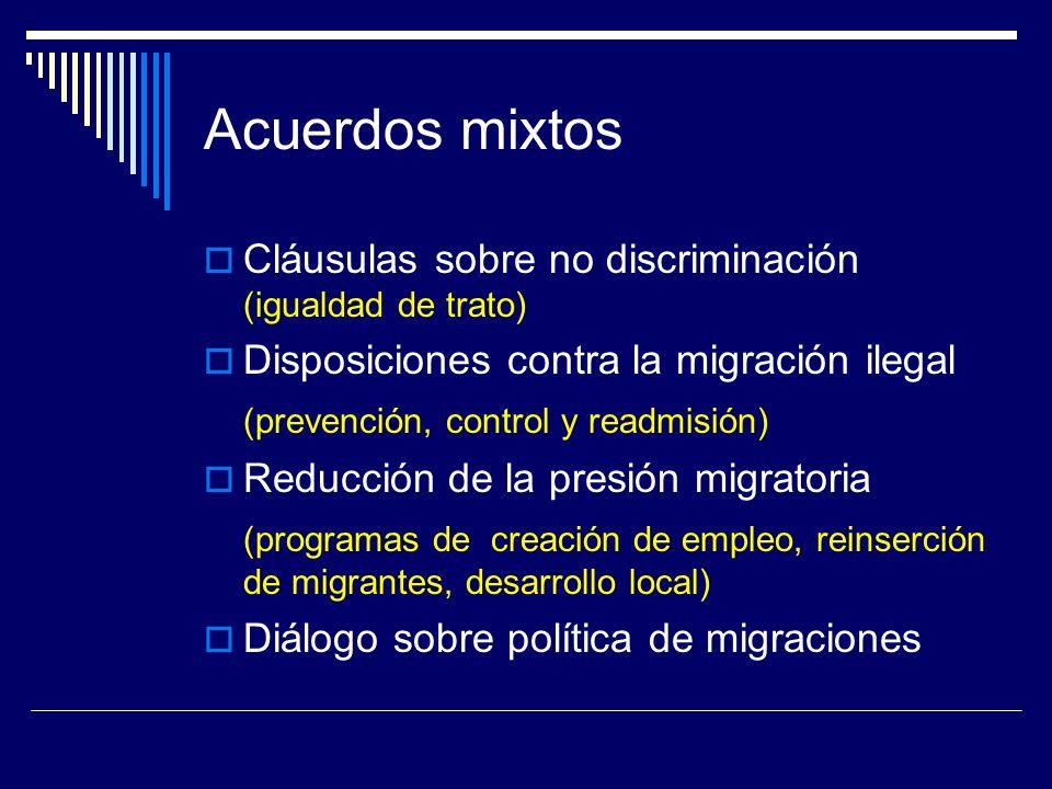 Acuerdos mixtos Cláusulas sobre no discriminación (igualdad de trato) Disposiciones contra la migración ilegal (prevención, control y readmisión) Reducción de la presión migratoria (programas de creación de empleo, reinserción de migrantes, desarrollo local) Diálogo sobre política de migraciones