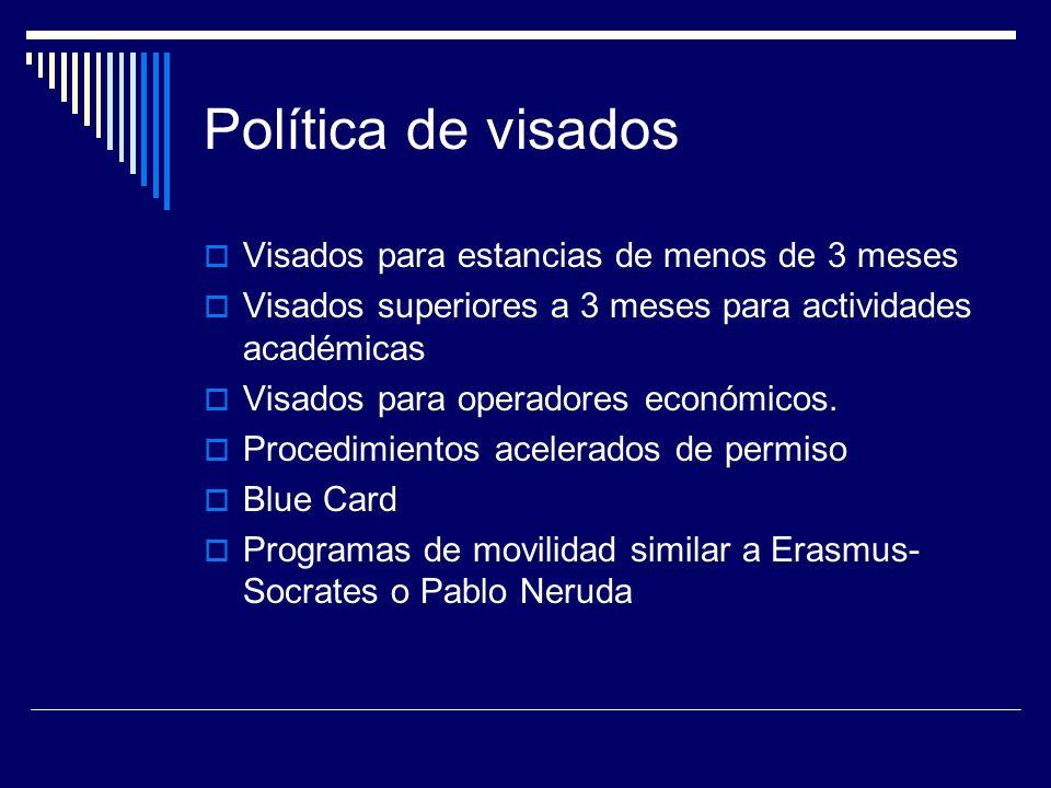 Política de visados Visados para estancias de menos de 3 meses Visados superiores a 3 meses para actividades académicas Visados para operadores económicos.