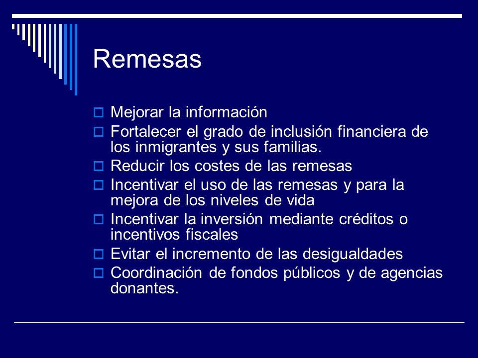 Remesas Mejorar la información Fortalecer el grado de inclusión financiera de los inmigrantes y sus familias.