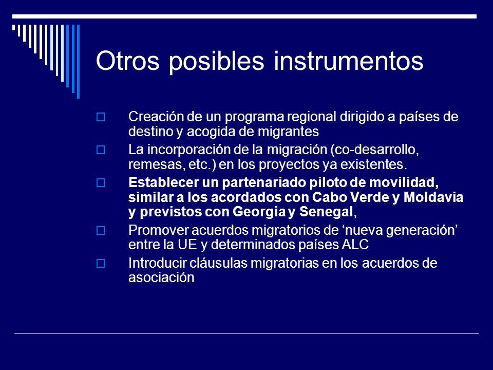 Otros posibles instrumentos Creación de un programa regional dirigido a países de destino y acogida de migrantes La incorporación de la migración (co-desarrollo, remesas, etc.) en los proyectos ya existentes.