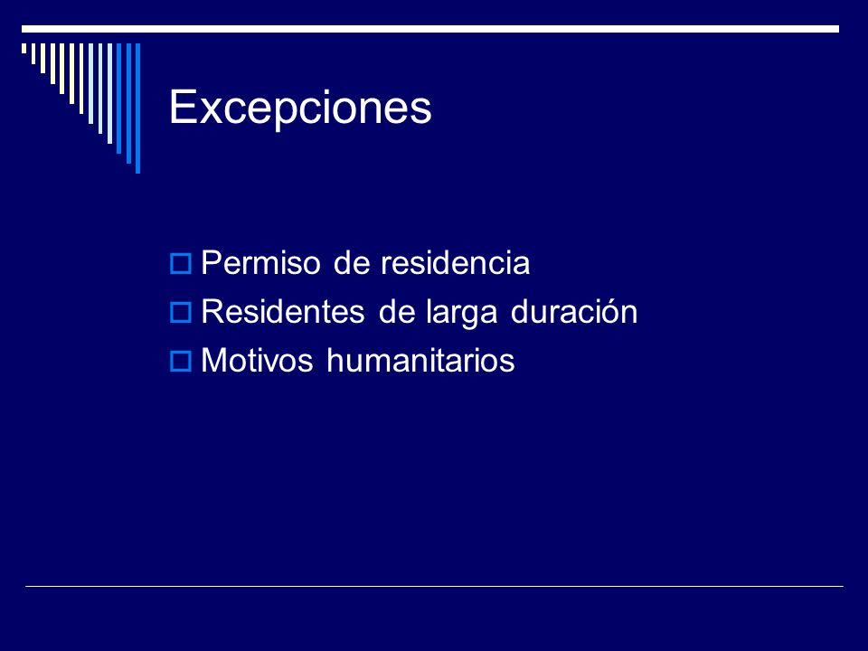 Excepciones Permiso de residencia Residentes de larga duración Motivos humanitarios