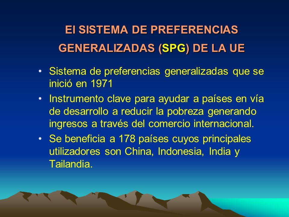 El SISTEMA DE PREFERENCIAS GENERALIZADAS (SPG) DE LA UE Sistema de preferencias generalizadas que se inició en 1971 Instrumento clave para ayudar a países en vía de desarrollo a reducir la pobreza generando ingresos a través del comercio internacional.