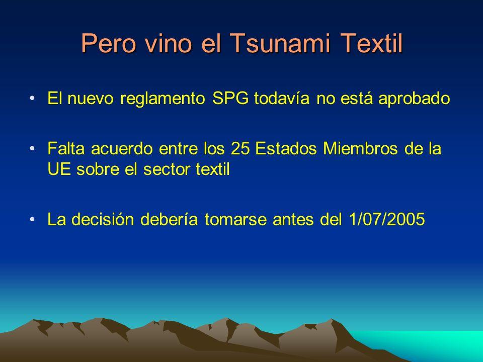 Pero vino el Tsunami Textil El nuevo reglamento SPG todavía no está aprobado Falta acuerdo entre los 25 Estados Miembros de la UE sobre el sector textil La decisión debería tomarse antes del 1/07/2005