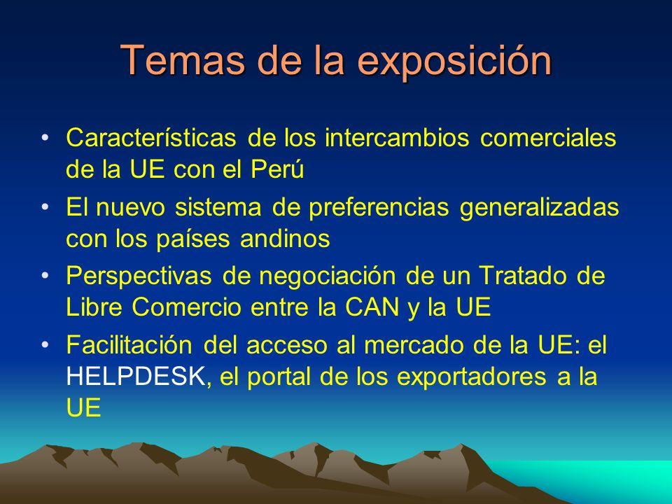 Temas de la exposición Características de los intercambios comerciales de la UE con el Perú El nuevo sistema de preferencias generalizadas con los países andinos Perspectivas de negociación de un Tratado de Libre Comercio entre la CAN y la UE Facilitación del acceso al mercado de la UE: el HELPDESK, el portal de los exportadores a la UE