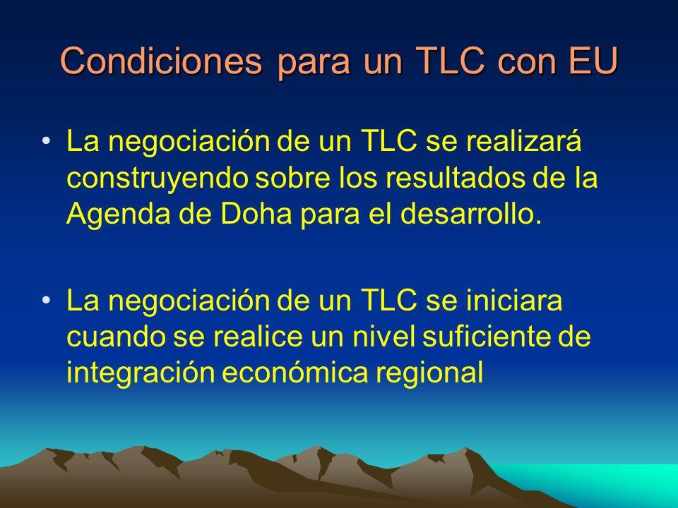Condiciones para un TLC con EU La negociación de un TLC se realizará construyendo sobre los resultados de la Agenda de Doha para el desarrollo.