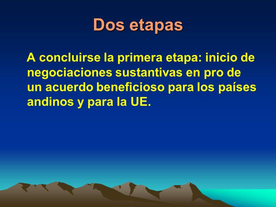 Dos etapas A concluirse la primera etapa: inicio de negociaciones sustantivas en pro de un acuerdo beneficioso para los países andinos y para la UE.