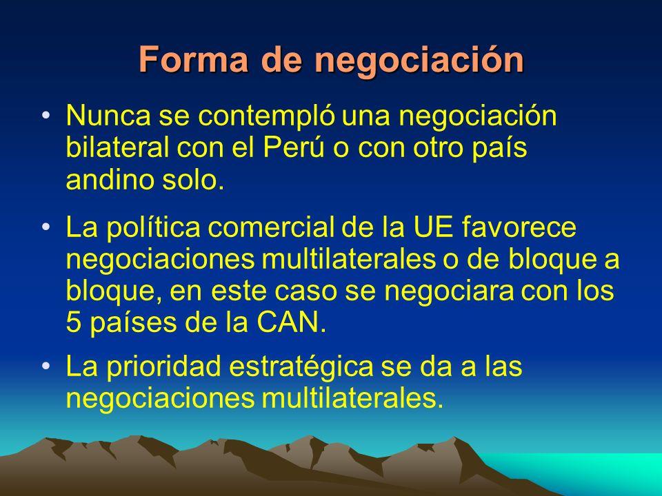 Forma de negociación Nunca se contempló una negociación bilateral con el Perú o con otro país andino solo.