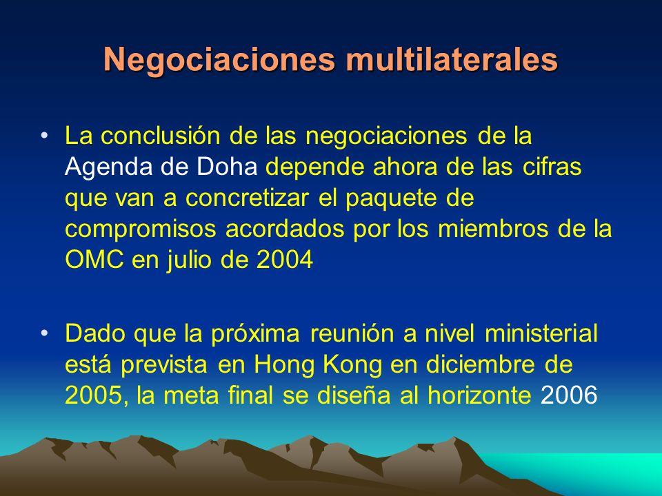 Negociaciones multilaterales La conclusión de las negociaciones de la Agenda de Doha depende ahora de las cifras que van a concretizar el paquete de compromisos acordados por los miembros de la OMC en julio de 2004 Dado que la próxima reunión a nivel ministerial está prevista en Hong Kong en diciembre de 2005, la meta final se diseña al horizonte 2006