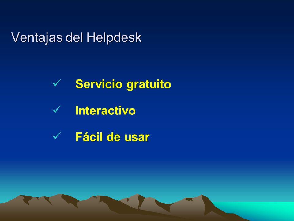 Ventajas del Helpdesk Servicio gratuito Interactivo Fácil de usar