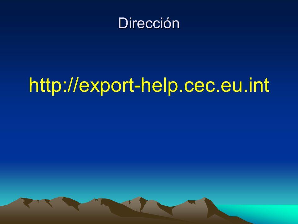 Dirección http://export-help.cec.eu.int