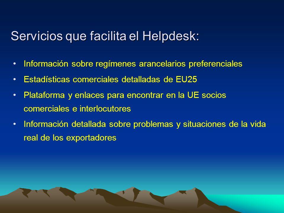 Servicios que facilita el Helpdesk: Información sobre regímenes arancelarios preferenciales Estadísticas comerciales detalladas de EU25 Plataforma y enlaces para encontrar en la UE socios comerciales e interlocutores Información detallada sobre problemas y situaciones de la vida real de los exportadores