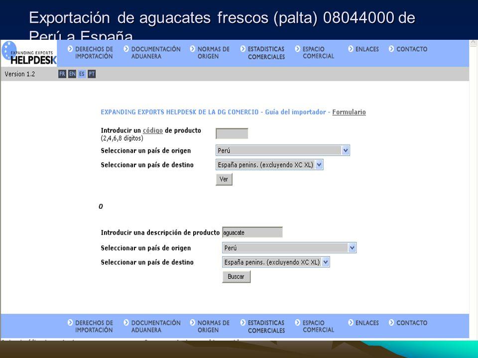 Exportación de aguacates frescos (palta) 08044000 de Perú a España