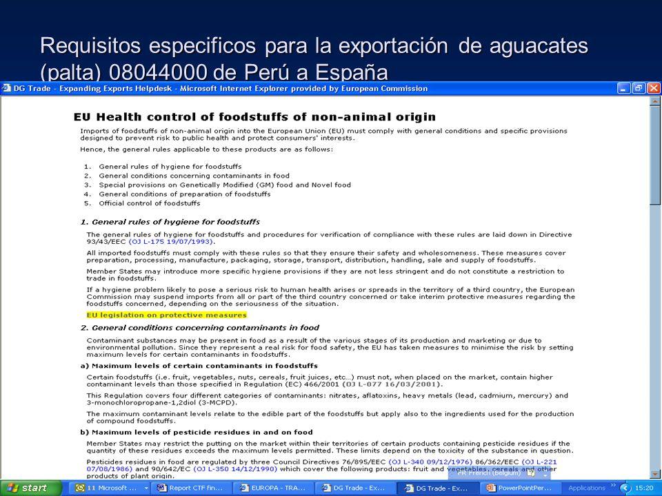 Requisitos especificos para la exportación de aguacates (palta) 08044000 de Perú a España