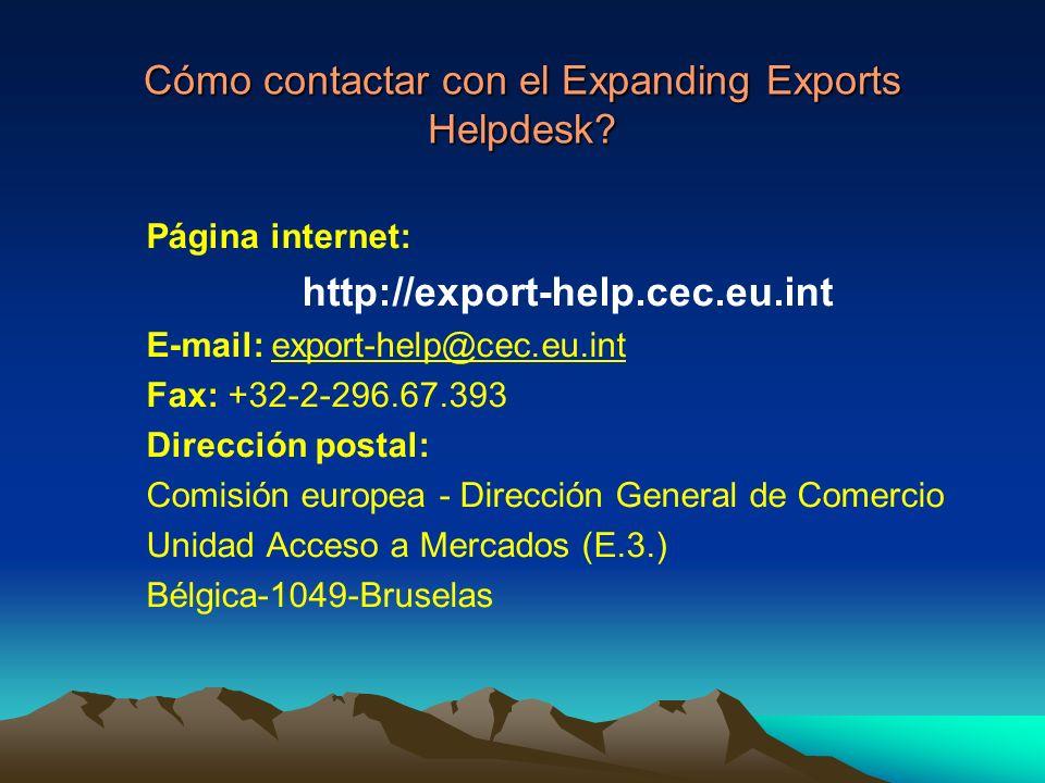 Cómo contactar con el Expanding Exports Helpdesk.