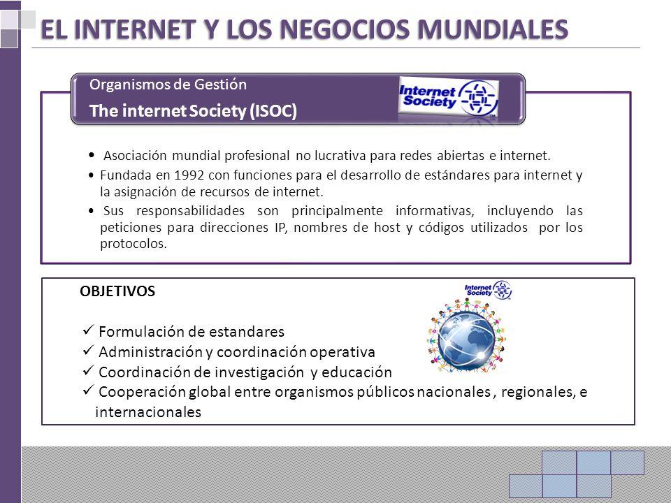 EL INTERNET Y LOS NEGOCIOS MUNDIALES Asociación mundial profesional no lucrativa para redes abiertas e internet.