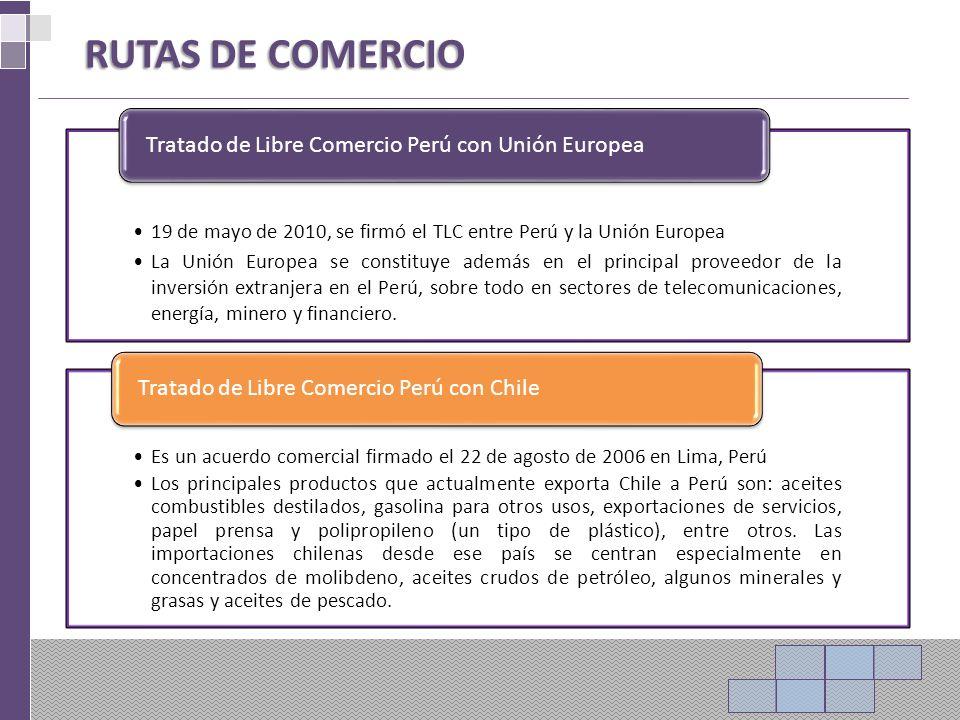19 de mayo de 2010, se firmó el TLC entre Perú y la Unión Europea La Unión Europea se constituye además en el principal proveedor de la inversión extranjera en el Perú, sobre todo en sectores de telecomunicaciones, energía, minero y financiero.