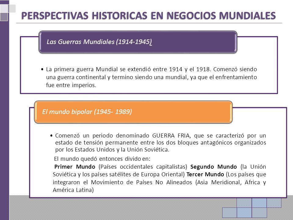 PERSPECTIVAS HISTORICAS EN NEGOCIOS MUNDIALES La primera guerra Mundial se extendió entre 1914 y el 1918.