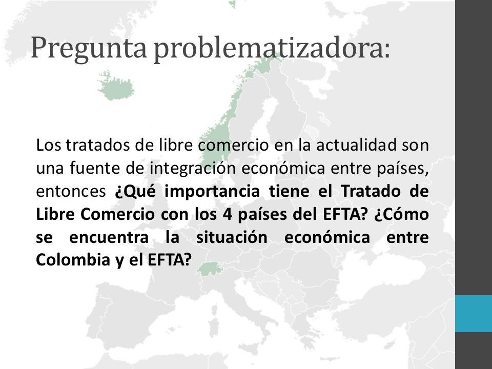 Pregunta problematizadora: Los tratados de libre comercio en la actualidad son una fuente de integración económica entre países, entonces ¿Qué importancia tiene el Tratado de Libre Comercio con los 4 países del EFTA.