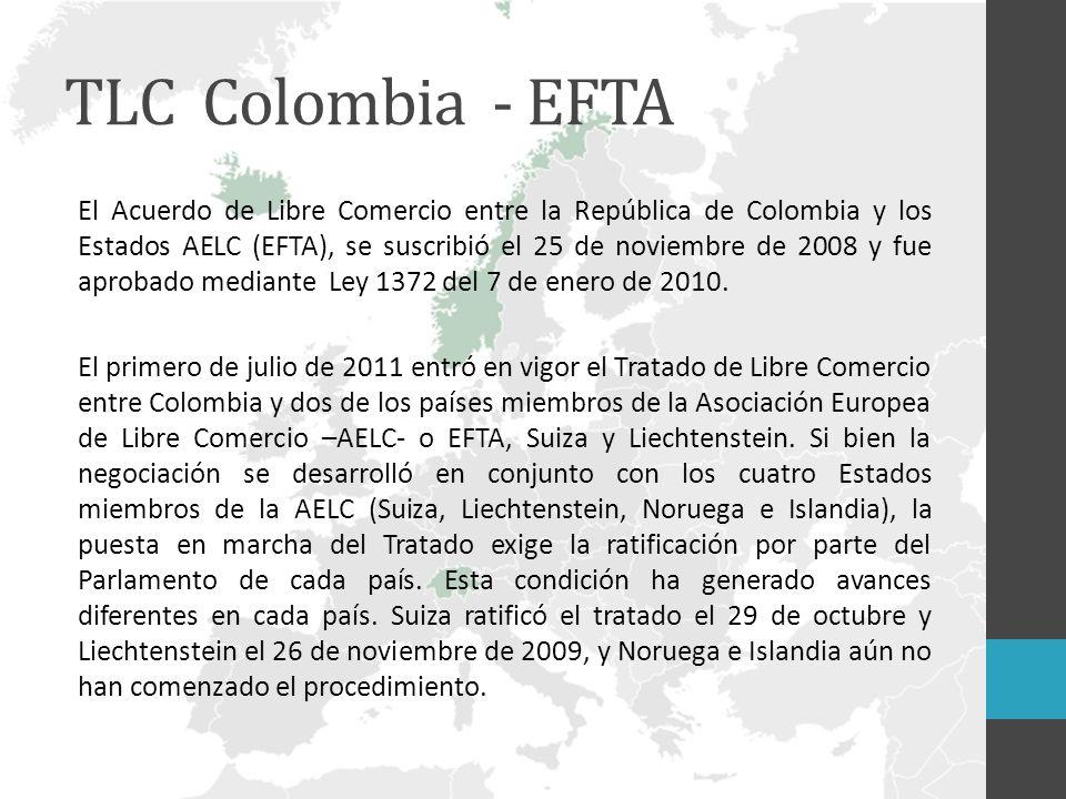 TLC Colombia - EFTA El Acuerdo de Libre Comercio entre la República de Colombia y los Estados AELC (EFTA), se suscribió el 25 de noviembre de 2008 y fue aprobado mediante Ley 1372 del 7 de enero de 2010.