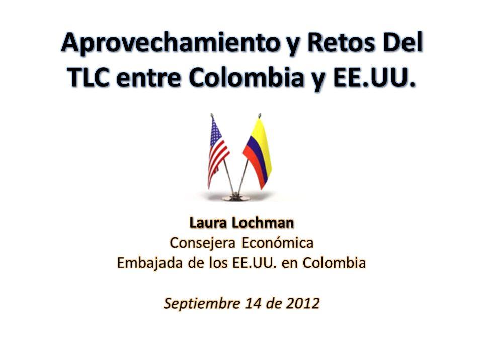 …como resultado de las acciones tomadas por el Presidente Santos y el legislativo de Colombia, puedo anunciar que el Tratado de Libre Comercio entre Estados Unidos y Colombia entrará en vigor el próximo 15 de mayo […] este acuerdo es un gana-gana para nuestros dos países.