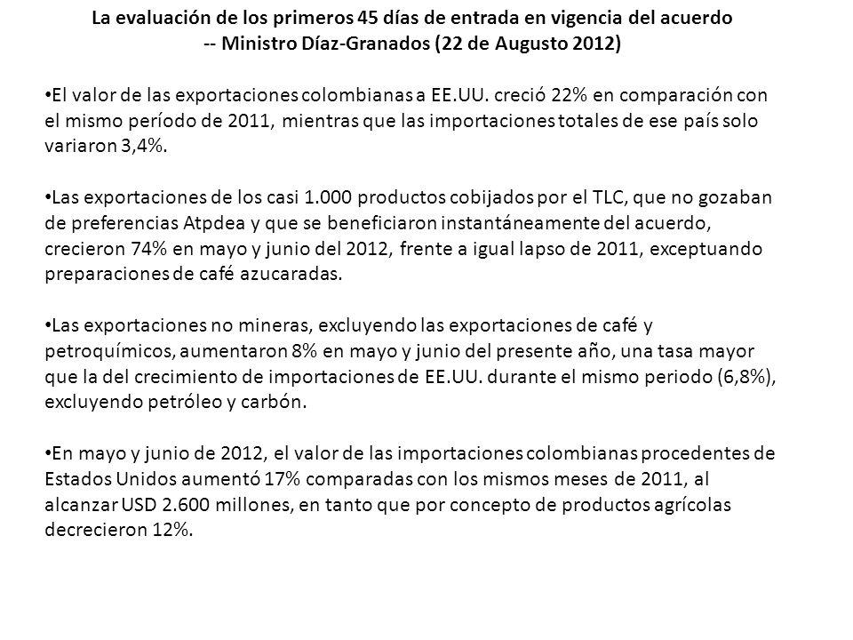 La evaluación de los primeros 45 días de entrada en vigencia del acuerdo -- Ministro Díaz-Granados (22 de Augusto 2012) El valor de las exportaciones