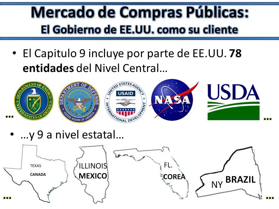 El Capitulo 9 incluye por parte de EE.UU. 78 entidades del Nivel Central… …y 9 a nivel estatal…