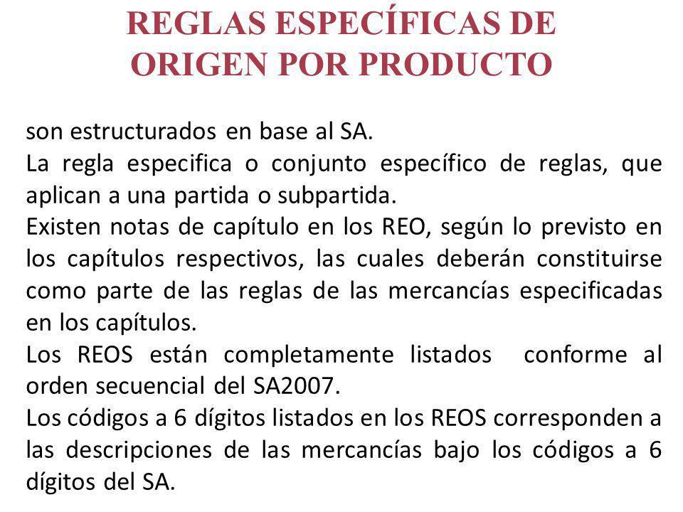 son estructurados en base al SA. La regla especifica o conjunto específico de reglas, que aplican a una partida o subpartida. Existen notas de capítul