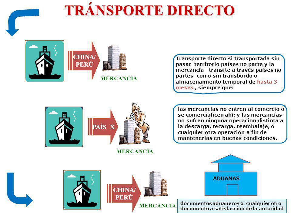 TRÁNSPORTE DIRECTO TRÁNSPORTE DIRECTO CHINA/ PERÚ CHINA/ PERÚ MERCANCIA PAÌS X MERCANCIA Transporte directo si transportada sin pasar territorio paíse