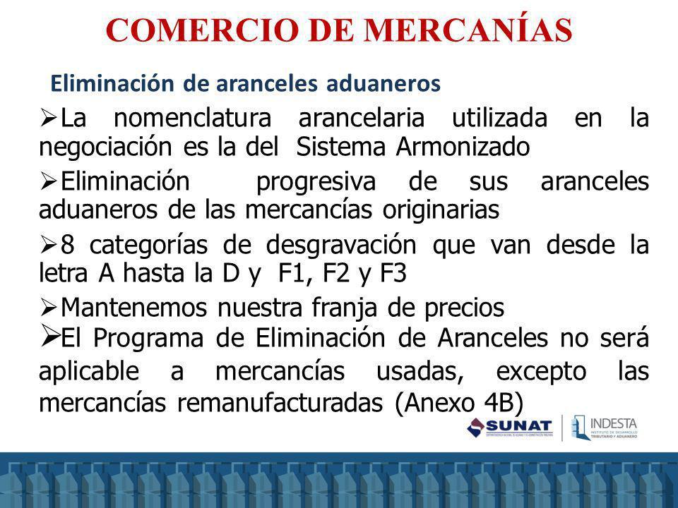 COMERCIO DE MERCANÍAS Eliminación de aranceles aduaneros La nomenclatura arancelaria utilizada en la negociación es la del Sistema Armonizado Eliminac