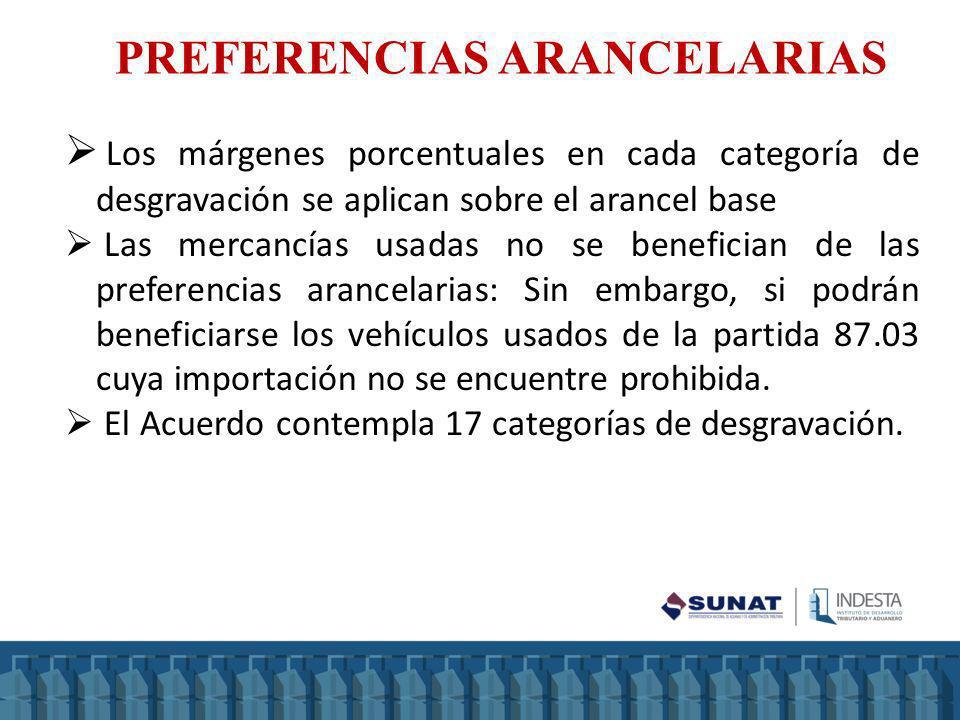 Los márgenes porcentuales en cada categoría de desgravación se aplican sobre el arancel base Las mercancías usadas no se benefician de las preferencia